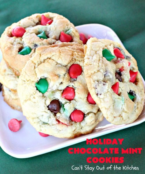 Holiday Chocolate Mint Cookies | Can't Stay Out of the Kitchen | these fantastic #cookies are loaded with #chocolate chips & #mint chips. This delectable #dessert is terrific for #holiday #baking & #Christmas #cookie exchanges. #ChristmasDessert #ChristmasCookieExchange #MintDessert #ChocolateDessert