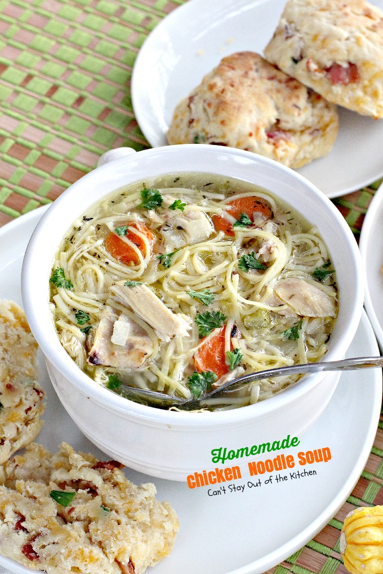 Homemade Chicken Noodle Soup | Can't Stay Out of the Kitchen | we love this wonderful, tasty #soup. Make part or all of it in the #slowcooker! #chicken #noodles