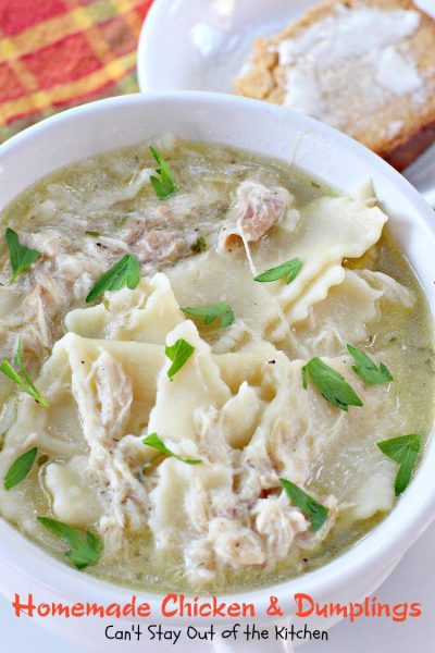 "Homemade Chicken and Dumplings | Can't Stay Out of the Kitchen | BEST #homemade #chickenanddumplings recipe. Provides ""from scratch"" directions on making #homemade #noodle #dumplings. #soup #chicken"