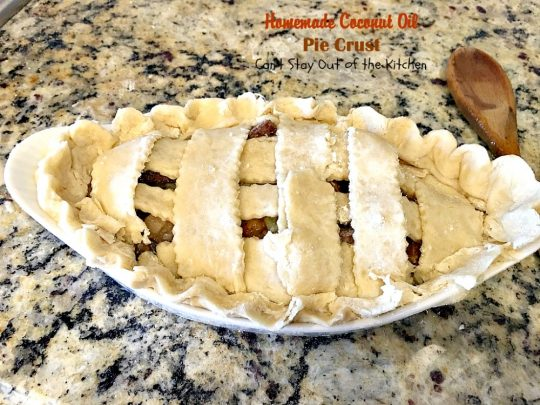 Homemade Coconut Oil Pie Crust | Can't Stay Out of the Kitchen | delicious, flaky homemade #piecrust recipe without using shortening. #CoconutOil is a great alternative. Includes step-by-step pictures. #pie