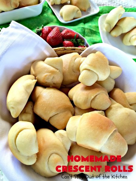 Homemade Crescent Rolls | Can't Stay Out of the Kitchen | these fantastic homemade #dinnerrolls can be made up a week in advance & stored in the refrigerator before baking. That makes them perfect for #holidays like #Thanksgiving or #Christmas. Make the #recipe a few days ahead & then roll out & bake the day you need them! #crescentrolls #bread #rolls #baking #homemadecrescentrolls #homemadedinnerrolls