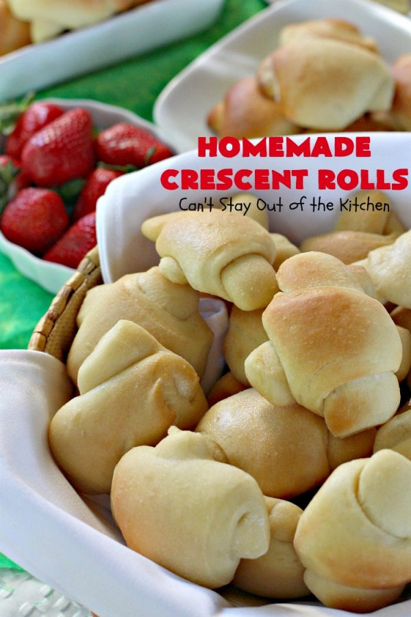 Homemade Crescent Rolls   Can't Stay Out of the Kitchen   these fantastic homemade #dinnerrolls can be made up a week in advance & stored in the refrigerator before baking. That makes them perfect for #holidays like #Thanksgiving or #Christmas. Make the #recipe a few days ahead & then roll out & bake the day you need them! #crescentrolls #bread #rolls #baking #homemadecrescentrolls #homemadedinnerrolls