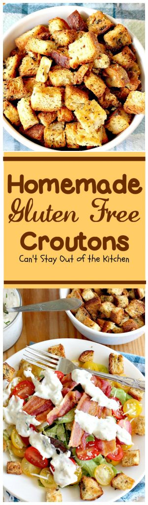 Homemade Gluten Free Croutons | Can't Stay Out of the Kitchen | these garlicky #croutons use #glutenfree bread, #Italianseasoning & parsley and are filled with flavor. So easy and delicious. Serve with your favorite #soup or #salad.