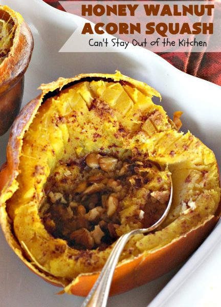 Honey Walnut Acorn Squash | Can't Stay Out of the Kitchen | this super easy 5-ingredient #sidedish is a fabulous way to use #AcornSquash. We especially love this for #Thanksgiving and #Christmas dinners. #holiday #casserole #holidaysidedish #glutenfree #walnuts #glutenfreesidedish