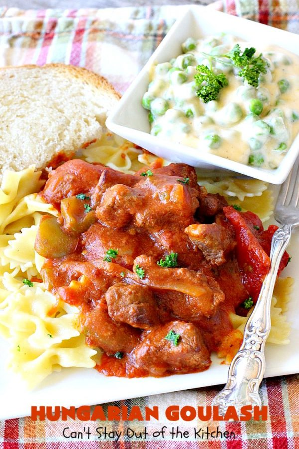 Hungarian Goulash | Can't Stay Out of the Kitchen | This old world favorite is a delicious #beefstew flavored with paprika & made with #tomatoes, bell peppers, onions & garlic. It's terrific served over #noodles or #pasta. #beef #stew #Hungarian #HungarianGoulash