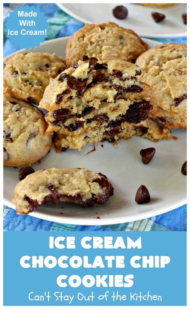 Ice Cream Chocolate Chip Cookies   Can't Stay Out of the Kitchen   No one will ever guess the secret ingredient in these spectacular #cookies is #IceCream! They're ooey, gooey, chocolaty & outrageously delicious. #tailgating #ChocolateChipCookies #chocolate #dessert #ChocolateDessert #IceCreamChocolateChipCookies