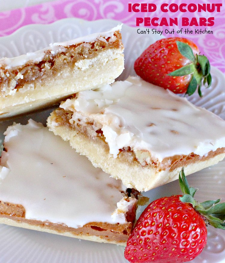 Iced Coconut Pecan Bars | Can't Stay Out of the Kitchen | this fabulous #cookie has a #coconut & #Pecan filling & a lovely citrus icing. Perfect for summer #holiday parties. #dessert