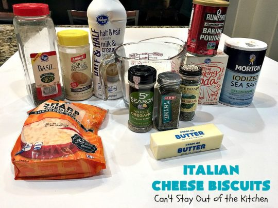 Italian Cheese Biscuits | Can't Stay Out of the Kitchen | these quick & easy drop #biscuits will knock your socks off! They can be made in 30 minutes making them an excellent choice for weeknight suppers. Terrific #SideDish for #FathersDay. #bread #CheddarCheese #Italian #CheeseBiscuits #ItalianCheeseBiscuits