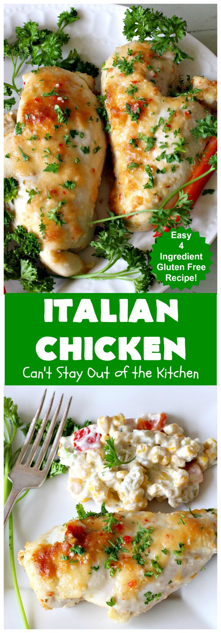 Italian Chicken | Can't Stay Out of the Kitchen | this quick & easy 4-ingredient #chicken entree is perfect for weeknight dinners when you're short on time. Tasty & delicious. #Italian #GlutenFree #ItalianChicken