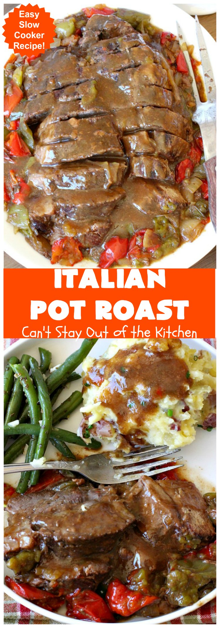 Italian Pot Roast   Can't Stay Out of the Kitchen   This super easy 7-ingredient #PotRoast #recipe is made in the #SlowCooker. Scrumptious to the taste buds and so quick & simple to prepare. Great for weeknight or company dinners. #Italian #ItalianPotRoast #Crockpot