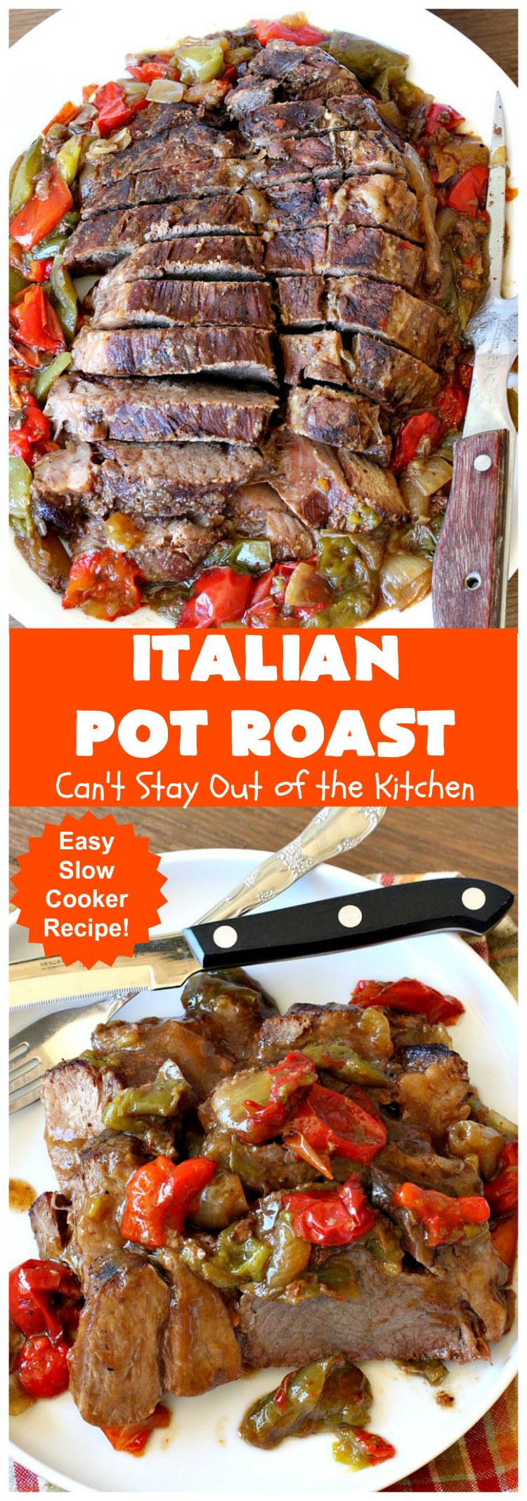 Italian Pot Roast | Can't Stay Out of the Kitchen | This super easy 7-ingredient #PotRoast #recipe is made in the #SlowCooker. Scrumptious to the taste buds and so quick & simple to prepare. Great for weeknight or company dinners. #Italian #ItalianPotRoast #Crockpot