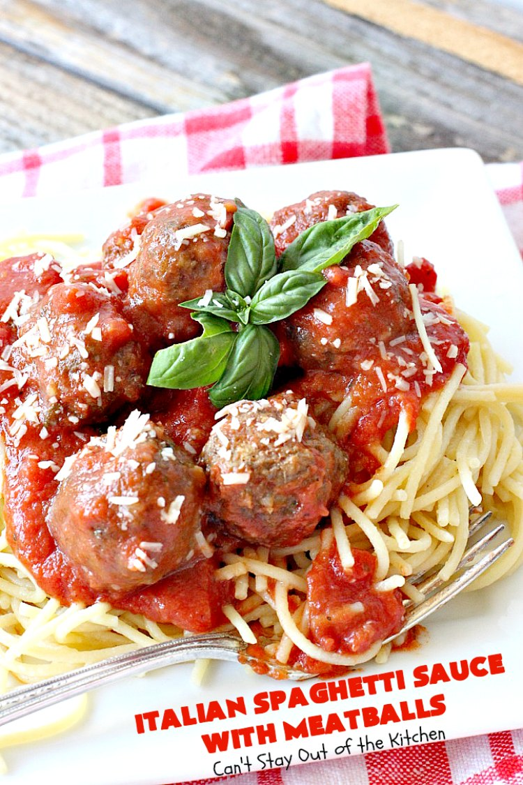 Italian Spaghetti Sauce with Meatballs | Can't Stay Out of the Kitchen | our favorite #spaghetti recipe. This one's made in the #crockpot. I substituted #glutenfree breadcrumbs in the #meatballs & GF #pasta. So good. #beef