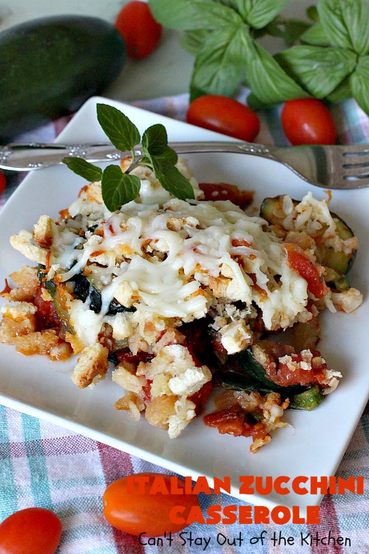 Italian Zucchini Casserole | Cant Stay Out of the Kitchen | this fantastic #casserole is perfect for your #Thanksgiving or #Christmas #holiday menu. It's filled with #zucchini & #tomatoes, topped with #StuffingMix & loaded with #Parmesan & #Mozzarella cheeses. Everyone will want seconds. #Italian #HolidaySideDish #ZucchiniCasserole #ItalianZucchiniCasserole #GooseberryPatch