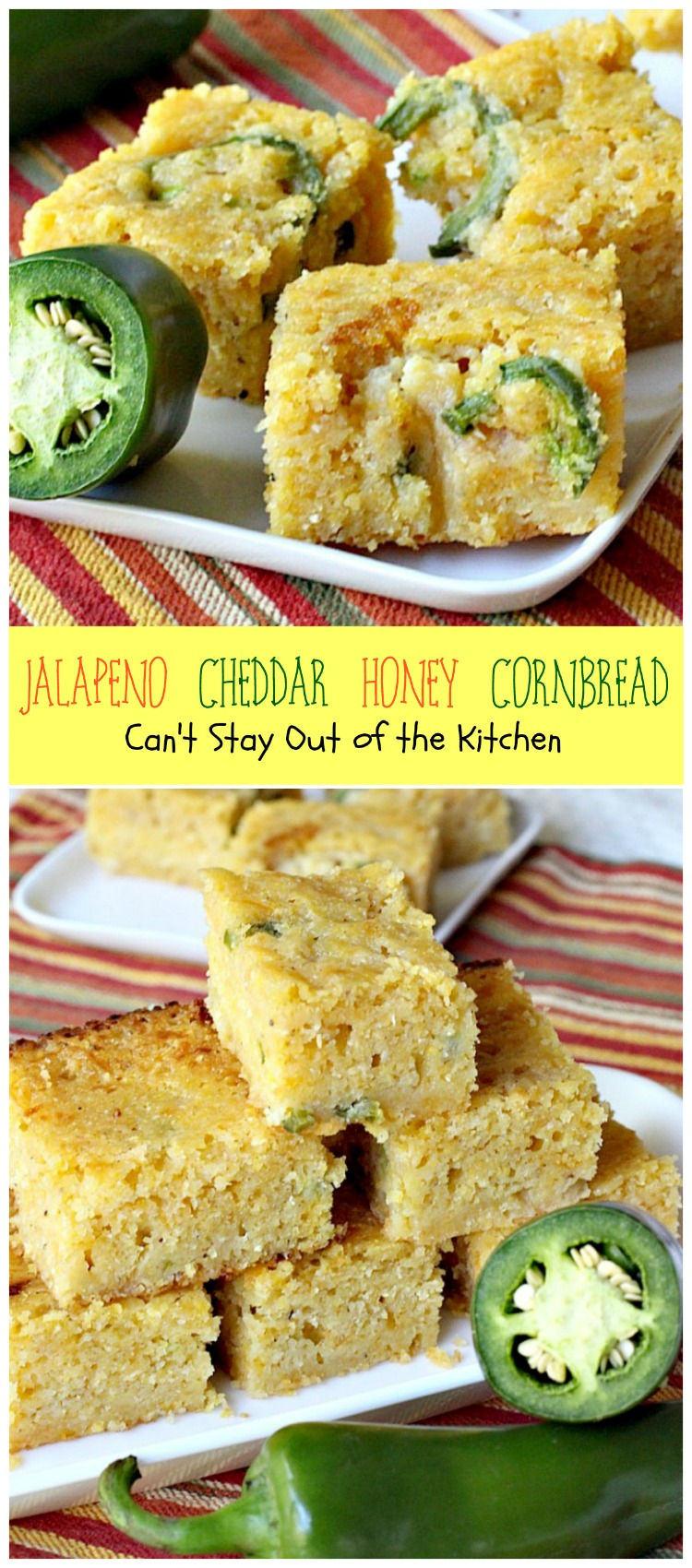 Jalapeno Cheddar Honey Cornbread | Can't Stay Out of the Kitchen