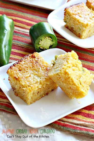 Jalapeno Cheddar Honey Cornbread | Can't Stay Out of the Kitchen | dynamite #cornbread that's sweet and spicy. Great with #chili. #jalapenos #cheddarcheese