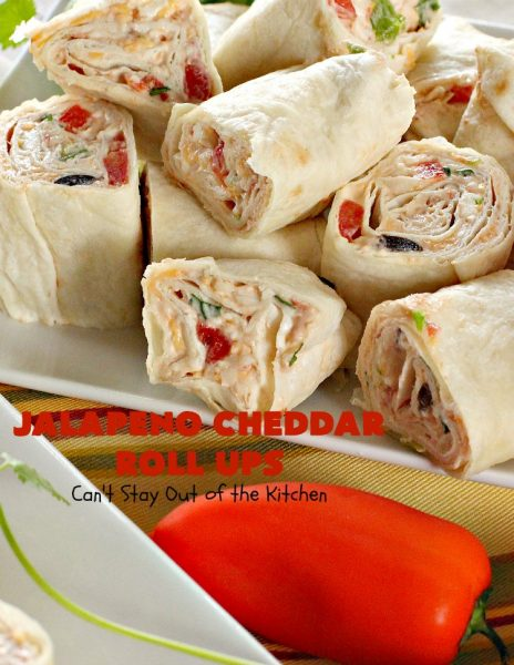 Jalapeno Cheddar Roll Ups | Can't Stay Out of the Kitchen | these fantastic #TexMex #appetizers are terrific for #tailgating, #NewYearsEve or #SuperBowl parties. Filled with #refriedbeans, #chilies, #olives, & lots of #cheese.