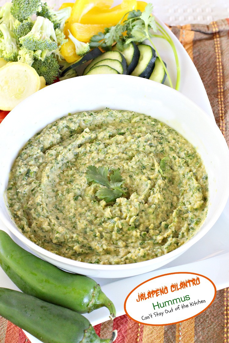 Jalapeno Cilantro Hummus | Can't Stay Out of the Kitchen