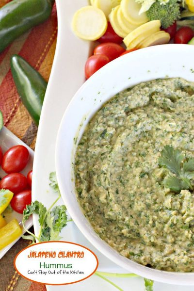 Jalapeno Cilantro Hummus | Can't Stay Out of the Kitchen | delicious #hummus recipe spiced up with #jalapenos and #cilantro. #glutenfree #vegan #garbanzobeans