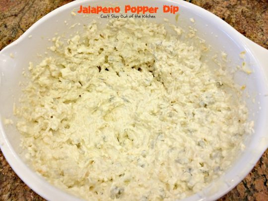 Jalapeno Popper Dip | Can't Stay Out of the Kitchen | we served this fabulous #appetizer for our #SuperBowl party this year and everyone loved it! It's filled with several kinds of #cheeses and uses #Pankobreadcrumbs on top. #greenchilies #jalapenos #tailgating