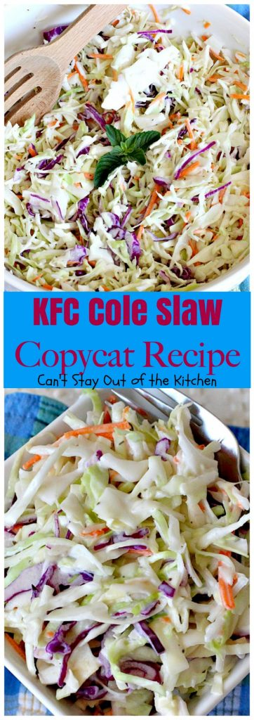 KFC Cole Slaw Copycat Recipe | Can't Stay Out of the Kitchen | fantastic #coleslaw that tastes just like #KentuckyFriedChicken's! Quick & easy & great for summer #holiday barbecues. #salad #cabbage #glutenfree