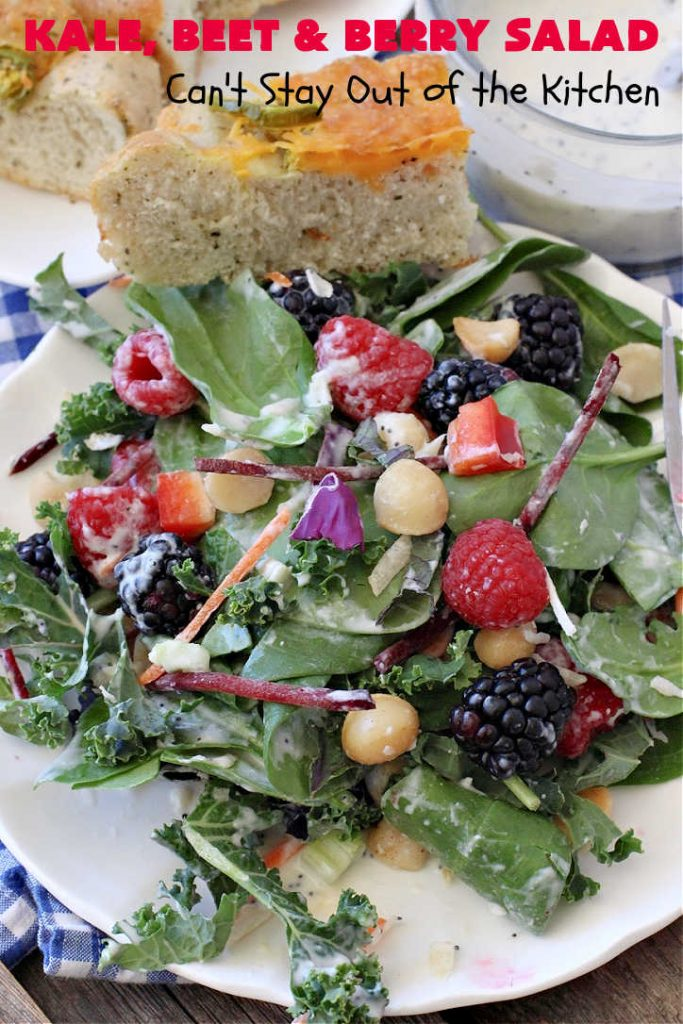Kale, Beet and Berry Salad | Can't Stay Out of the Kitchen | This amazing #salad will knock your socks off! Seriously. It features #raspberries, #blackberries, #MacadamiaNuts & #asiago or #romano #cheese. Great for company dinners. #GlutenFree #beets #kale #healthy #LowCalorie #CleanEating