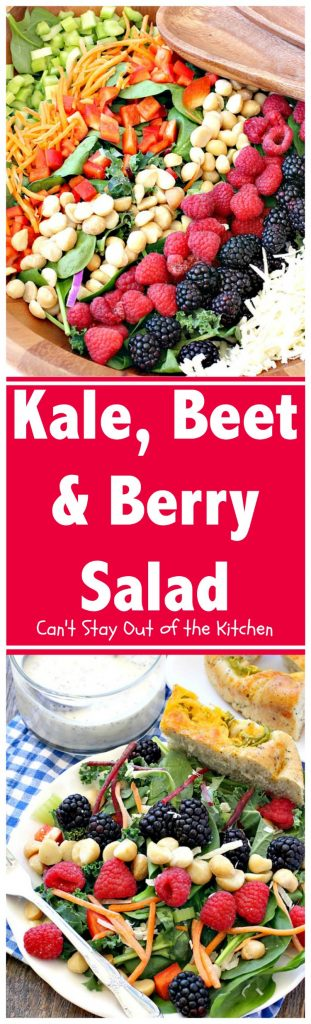 Kale, Beet and Berry Salad | Can't Stay Out of the Kitchen | Amazing #salad features #raspberries, #blackberries, #macadamianuts & #asiago or #romano cheese. Great for company dinners. #glutenfree