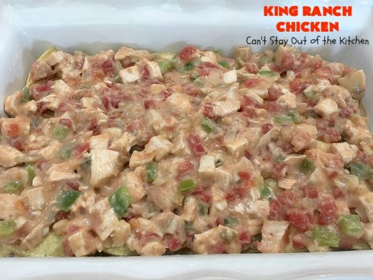 King Ranch Chicken | Can't Stay Out of the Kitchen | this #Texas favorite is easy as well as mouthwatering & delicious. It's terrific for company dinners. Everyone always raves over it when I make it. #Chicken #RoTel #tortillas #TexMex #CheddarCheese #casserole