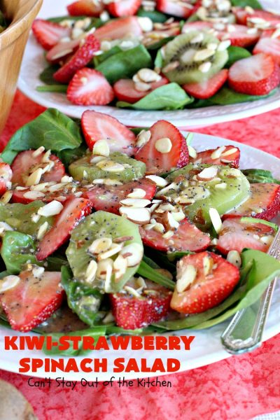 Kiwi-Strawberry Spinach Salad | Can't Stay Out of the Kitchen | this fantastic #salad is festive & beautiful enough to serve for company or #holiday dinners like #Easter, #MothersDay or #FathersDay. It's healthy, #glutenfree #vegan & #cleaneating--not to mention absolutely delicious. #kiwi #strawberries