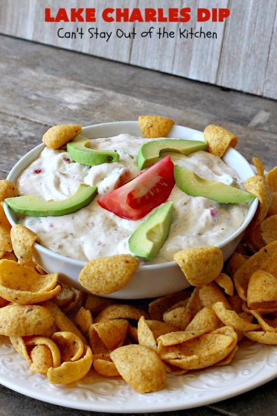 Lake Charles Dip | Can't Stay Out of the Kitchen | this fantastic dip uses #GoodSeasons salad dressing mix & #Louisianahotsauce to provide one of the most spectacular dips ever. Also includes #avocados & #tomatoes & takes less than 10 minutes to make. We served it with #Fritos & #RitzCrackers. #Cajun #appetizer #tailgating