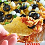 Layered Mexican Dip   Can't Stay Out of the Kitchen   this super easy 5-ingredient #appetizer can be made in a jiffy! It's perfect for #tailgating parties, potlucks, grilling out or anytime you're getting together with company. Everyone always loves it! #salsa #TexMex #cheddarcheese #EasyAppetizer #EasyTexMexAppetizer #LayeredMexicanDip
