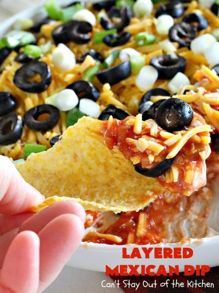 Layered Mexican Dip | Can't Stay Out of the Kitchen | this super easy 5-ingredient #appetizer can be made in a jiffy! It's perfect for #tailgating parties, potlucks, grilling out or anytime you're getting together with company. Everyone always loves it! #salsa #TexMex #cheddarcheese #EasyAppetizer #EasyTexMexAppetizer #LayeredMexicanDip