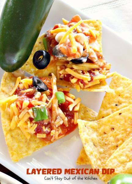 Layered Mexican Dip | Can't Stay Out of the Kitchen | fabulous 5-ingredient #Tex-Mex dip. #appetizer #salsa #cheese