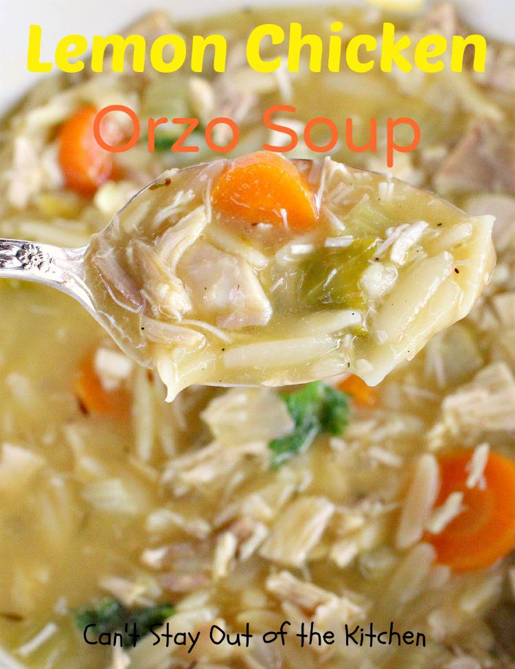 Here's a spoonful of Lemon Chicken Orzo Soup. This soup has great ...