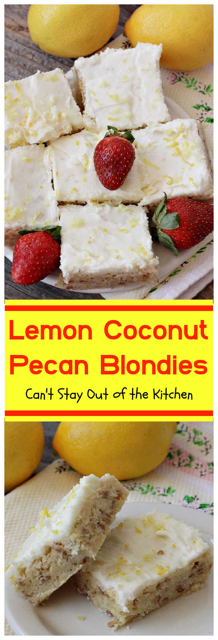 Lemon Coconut Pecan Blondies | Can't Stay Out of the Kitchen | these #cookies are divine! They have a heavenly #lemon icing and are filled with #coconut & #pecans. Great for #holiday #baking, #potlucks or #tailgating. #dessert #HolidayDessert #LemonDessert #brownie #LemonCoconutPecanBlondies