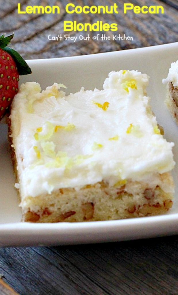 Lemon Coconut Pecan Blondies | Can't Stay Out of the Kitchen | these #cookies are divine! They have a heavenly #lemon icing and are filled with #coconut & #pecans. Great for #potlucks or #tailgating. #dessert