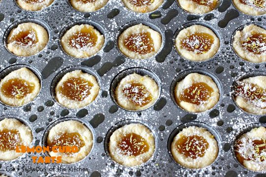 Lemon Curd Tarts   Can't Stay Out of the Kitchen   This awesome 6 ingredient #recipe is perfect for #holiday #baking & #ChristmasCookieExchanges. These festive #cookies are filled with #LemonCurd & are absolutely delightful. Every bite will have you drooling! #lemons #dessert #LemonDessert #LemonCurdTarts