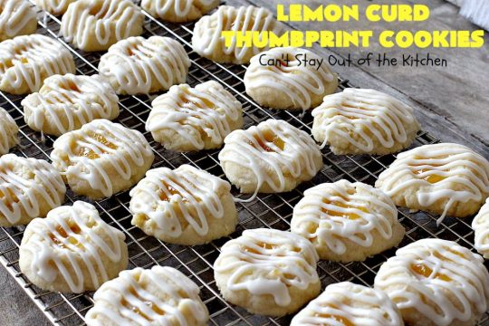 Lemon Curd Thumbprint Cookies | Can't Stay Out of the Kitchen | these delectable #thumbprintcookies are terrific for the #holidays & #Christmas #baking. #LemonCurd gives them a little bite & the vanilla icing on top makes them sweetly heavenly. #cookies #dessert #lemon #LemonDessert #HolidayDessert #ChristmasDessert #ChristmasCookieExchange #ChristmasCookie