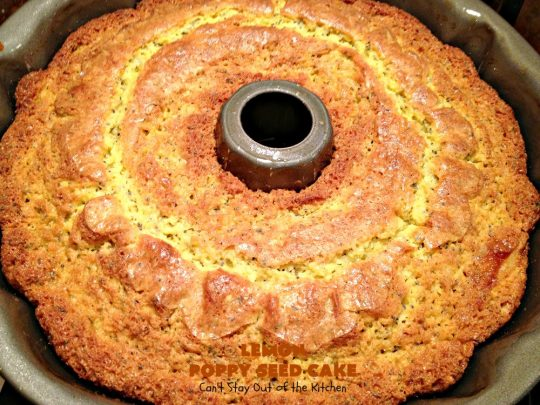 Lemon Poppy Seed Cake | Can't Stay Out of the Kitchen | this delicious #coffeecake starts with a boxed #cakemix. It's easy, lemony & absolutely mouthwatering. We serve it for #breakfast or as a #dessert. #Holiday #Lemon #poppyseeds #LemonCake #HolidayBreakfast #HolidayDessert #EasyLemonCake #LemonDessert #LemonCoffeeCake