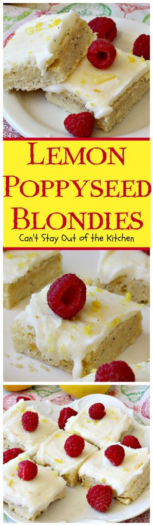 Lemon Poppyseed Blondies | Can't Stay Out of the Kitchen