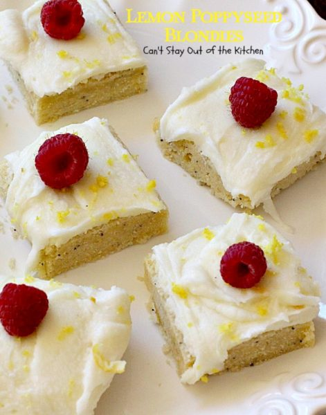 Lemon Poppyseed Blondies | Can't Stay Out of the Kitchen | these luscious #lemon #poppyseed #cookies have a scrumptious lemon frosting you'll be drooling over! #dessert
