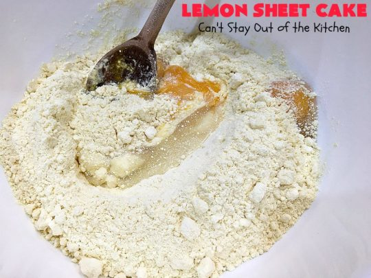 Lemon Sheet Cake | Can't Stay Out of the Kitchen | this delicious #lemon #cake uses only 8 ingredients for the cake & the icing. It's so easy, yet has a luscious lemony taste to die for! The #CreamCheese icing is wonderful. #dessert #tailgating #LemonDessert #LemonSheetCake #Holiday #HolidayDessert