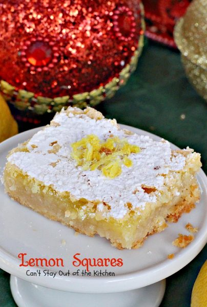 Lemon Squares | Can't Stay Out of the Kitchen | These lovely bars are one of our favorite #Christmas #cookie recipes. Rich and decadent! #dessert #lemon