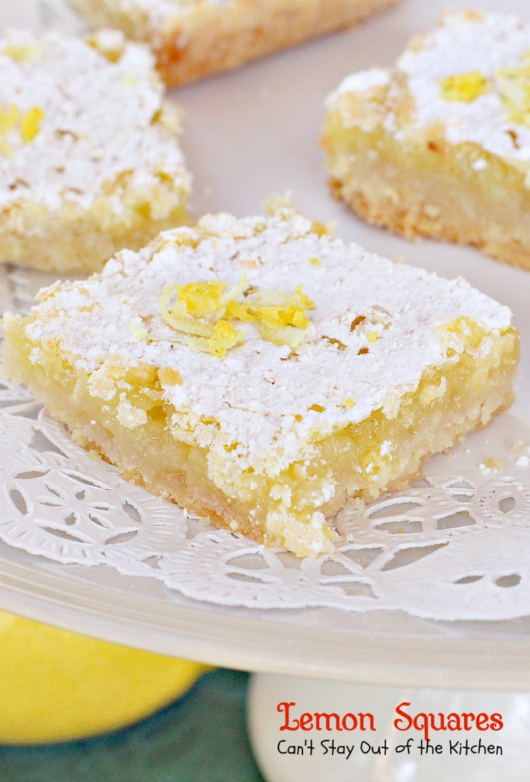 Lemon Squares   Can't Stay Out of the Kitchen   These lovely bars are one of our favorite #Christmas #cookie recipes. Rich and decadent! #dessert #lemon