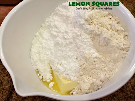Lemon Squares | Can't Stay Out of the Kitchen | this ooey, gooey, lemony, decadent #dessert has always been my son's favorite #cookie #recipe. We've always loved making them for the #Christmas #holidays. This easy & economical dessert will have you drooling from the first bite! #lemon #LemonSquares #LemonDessert #HolidayDessert
