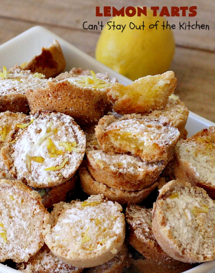 Lemon Tarts | Can't Stay Out of the Kitchen | these amazing #cookies are seriously addictive. You can't stop after eating just one! Terrific for #holiday or #tailgating parties, potlucks or any occasion. #lemon #LemonTarts #dessert #LemonDessert