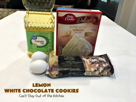 Lemon White Chocolate Cookies | Can't Stay Out of the Kitchen | super easy 4-ingredient #recipe with a #lemon #CakeMix & #WhiteChocolateChips Wonderful for #tailgating parties, potlucks & summer #holiday fun like #FourthOfJuly. #chocolate #cookies #LemonDessert #ChocolateDessert #LemonWhiteChocolateCookies