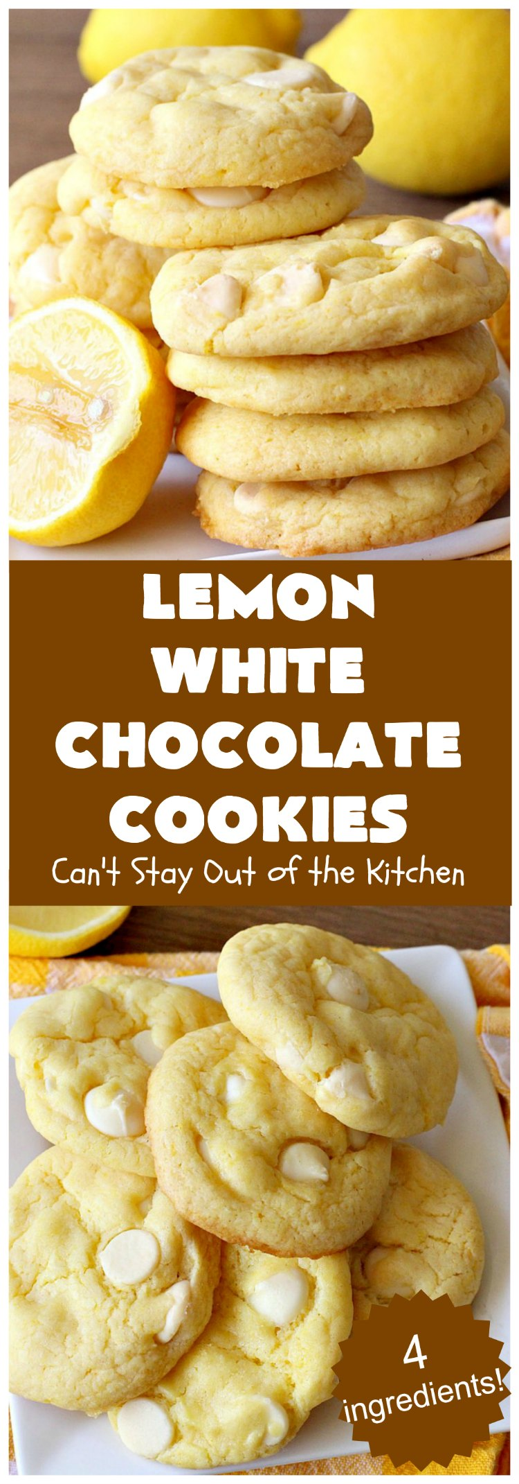 Lemon White Chocolate Cookies   Can't Stay Out of the Kitchen