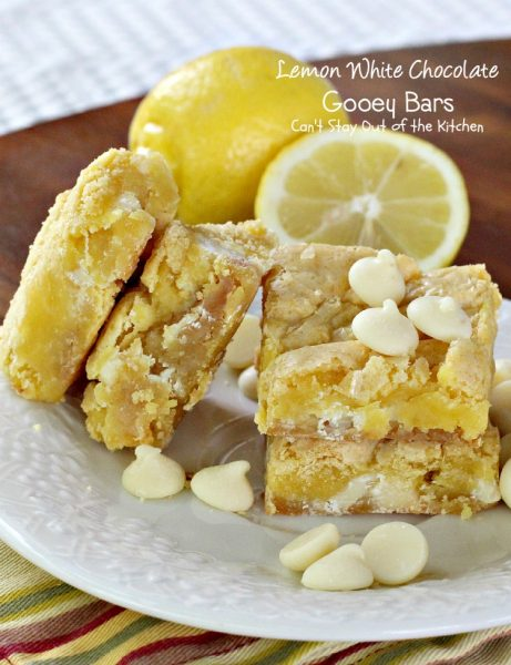 Lemon White Chocolate Gooey Bars | Can't Stay Out of the Kitchen | rich and decadent #lemon bars with #whitechocolatechips and #condensedmilk. #cookie #dessert #chocolate