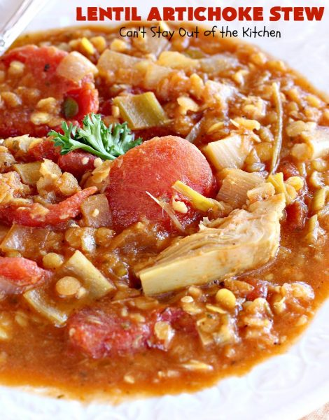 Lentil Artichoke Stew | Can't Stay Out of the Kitchen | This delectable #stew is filled with #lentils #tomatoes & #artichokes. It's wonderful comfort food for #fall or #winter. #vegan #glutenfree #cleaneating