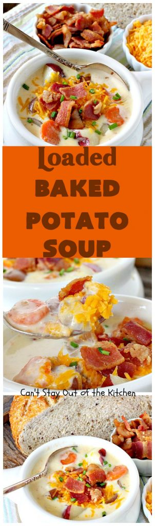 Loaded Baked Potato Soup | Can't Stay Out of the Kitchen | This #Disney copycat recipe is one of the most awesome #soup recipes ever. Loaded with #bacon, #cheddarcheese and red #potatoes.